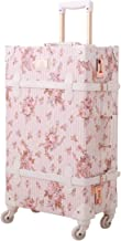 Unitravel Vintage Carry on Suitcase 20 inch Retro PU Trunk Luggage with Spinner Wheels for Women Girls (Floral Pink)