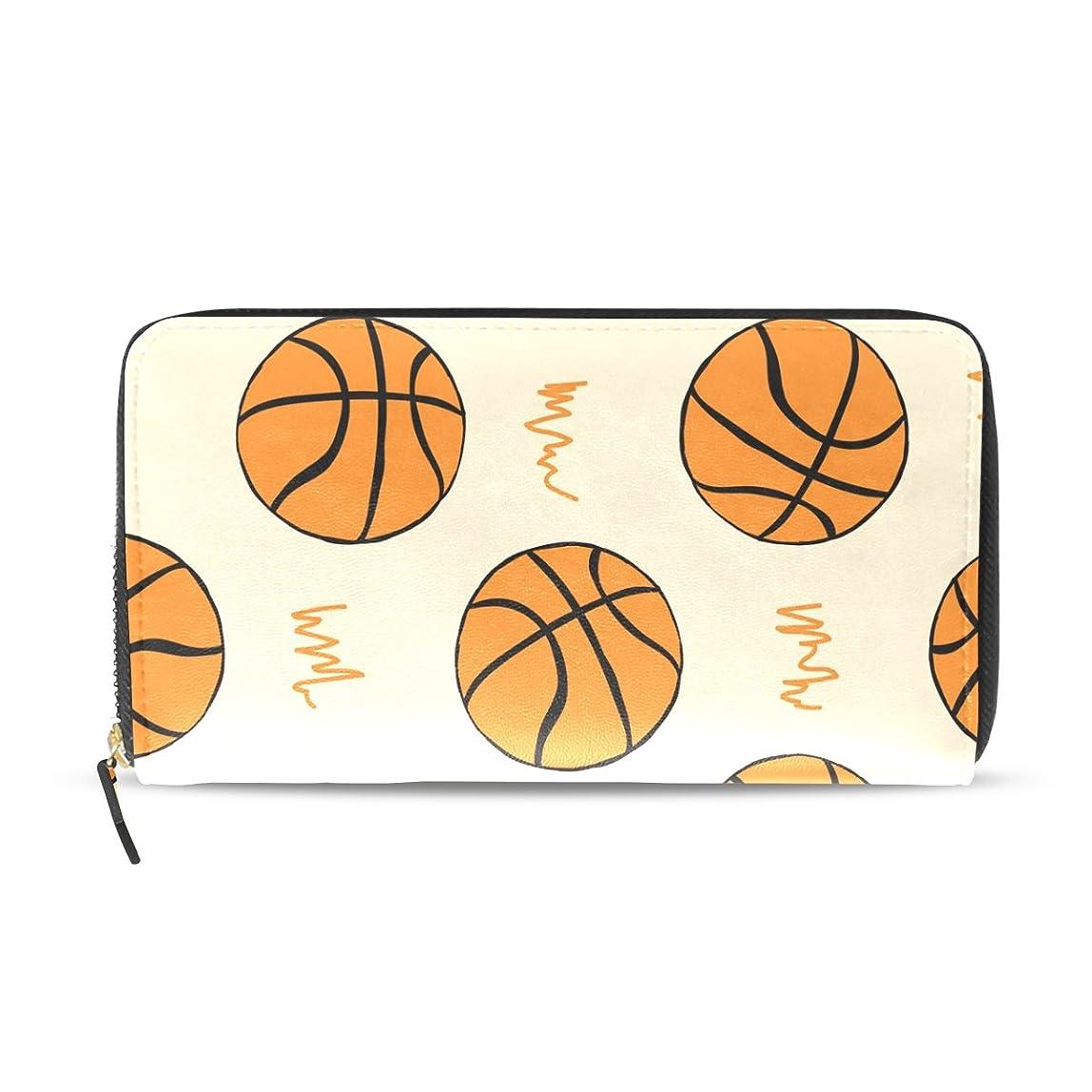 引き金恐ろしいです具体的にAOMOKI 財布 長財布 ラウンドファスナー 男女兼用 大容量 PUレザー 幅20*丈11cm バスケットボール