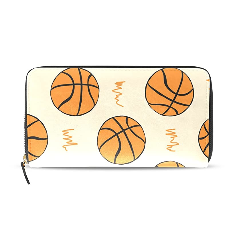 事前プロジェクター分AOMOKI 財布 長財布 ラウンドファスナー 男女兼用 大容量 PUレザー 幅20*丈11cm バスケットボール