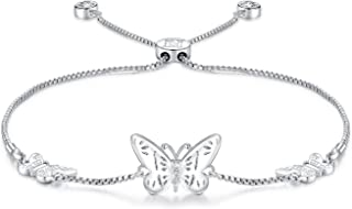 Silver Butterfly Charms Expandable Bolo Bracelet with Sparkling Cubic Zirconia Adjustable White Gold Plated Women Girl Jewelry Gift