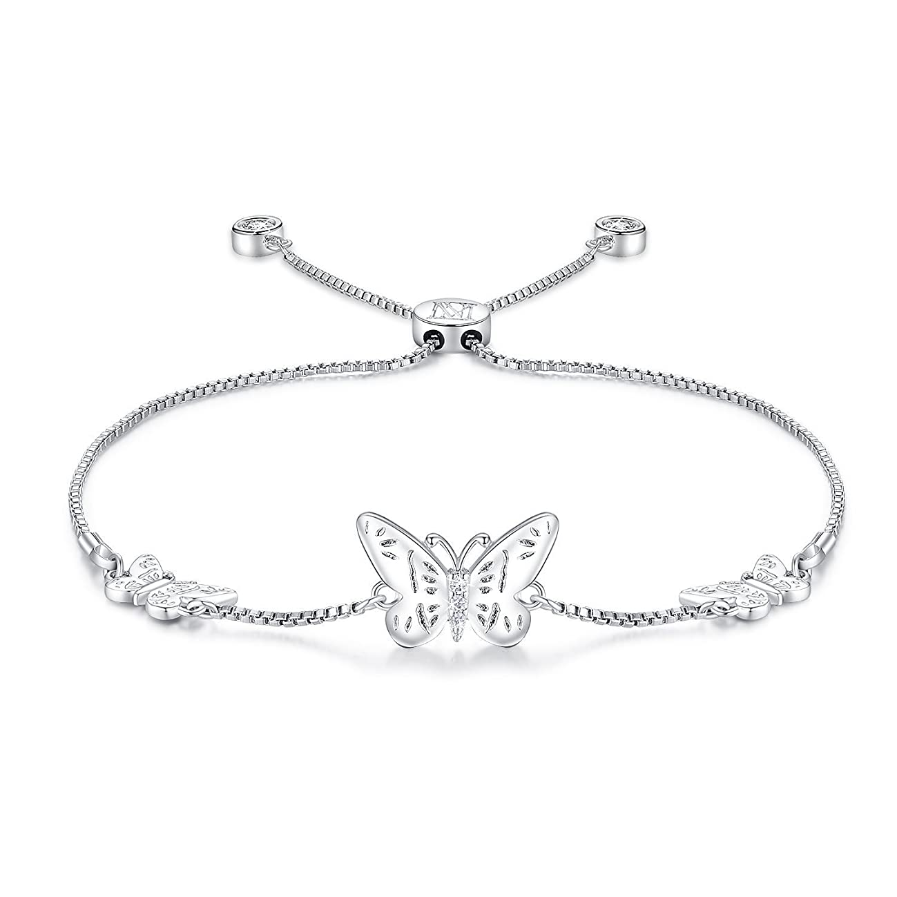 NINAMAID Silver Butterfly Charms Expandable Bolo Bracelet with Sparkling Cubic Zirconia Adjustable White Gold Plated Women Girl Jewelry Gift