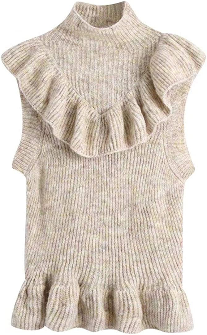 Women Fashion Turtleneck Collar Cascading Ruffle Knitting Sweater Lady Sleeveless Casual Chic Vest Pullover Tops