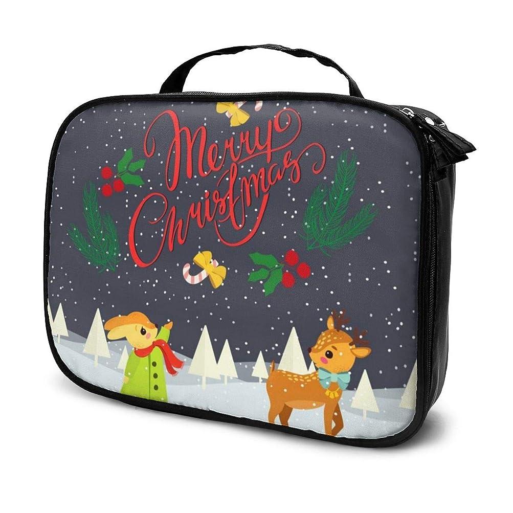 アクロバット害虫打たれたトラック化粧品収納バッグ Merry Christmas メリークリスマス 収納ポーチ 収納袋 化粧ポーチ 旅行の収納 化粧品バッグ ウォッシュバッグ 多機能 旅行用品 おしゃれな 男女兼用