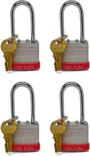 Lion Locks 5RLS Keyed-Alike Padlock, 1-9/16-inch Wide 2-inch Shackle (Pack of 4)