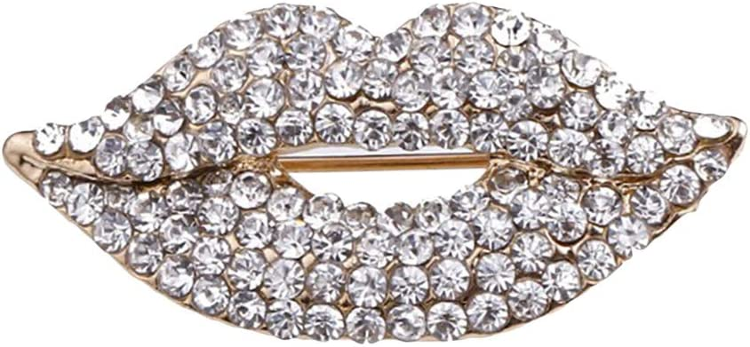 Evangelia.YM Women's Brooch Pins, Simple Fire Red Lips Mouth Crystal Full Rhinestone Studded Bag Purse Decor Corsage Brooches for Ladies Elegant Jewelry (White)