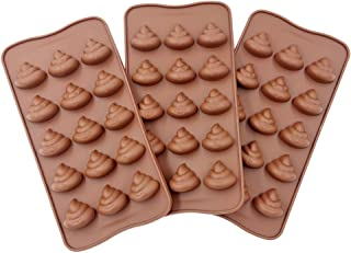 3pc Cute Funny Poop Emoji Candy Molds, Chocolate Molds, Silicone Molds, Soap Molds, Silicone Baking Molds Smile stool Ice Cube Candy Dessert Jello Mould, coffee (poop)