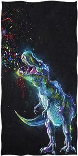 Serviette de Bain de Dinosaure rougeoyante Serviettes de Bain à la Main absorbantes à usages Multiples pour Salle de Sport...