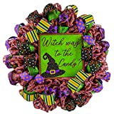Witch Way to the Candy Witch Hat Halloween Wreath - Trick or Treating Front Door Mesh Wreath - Lime Green Black Orange Purple