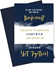 Will You Be My Bridesmaid Cards (6 Pack) I Can't Without You Maid of Honor (Navy and Gold)