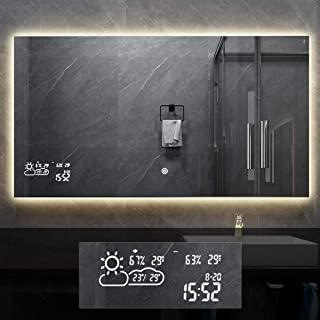 BYECOLD Horizontal Vanity Bathroom Mirror for Wall with LED Backlit Light Touch Switch Demister Weather Forecast Lighted Makeup Mirror Wall Mounted Bathroom Mirror- 47.2''x 23.6''