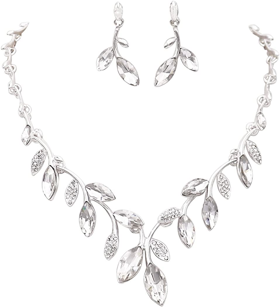 Rosemarie Collections Women's Crystal Leaf Bridal Necklace and Earrings Jewelry Set