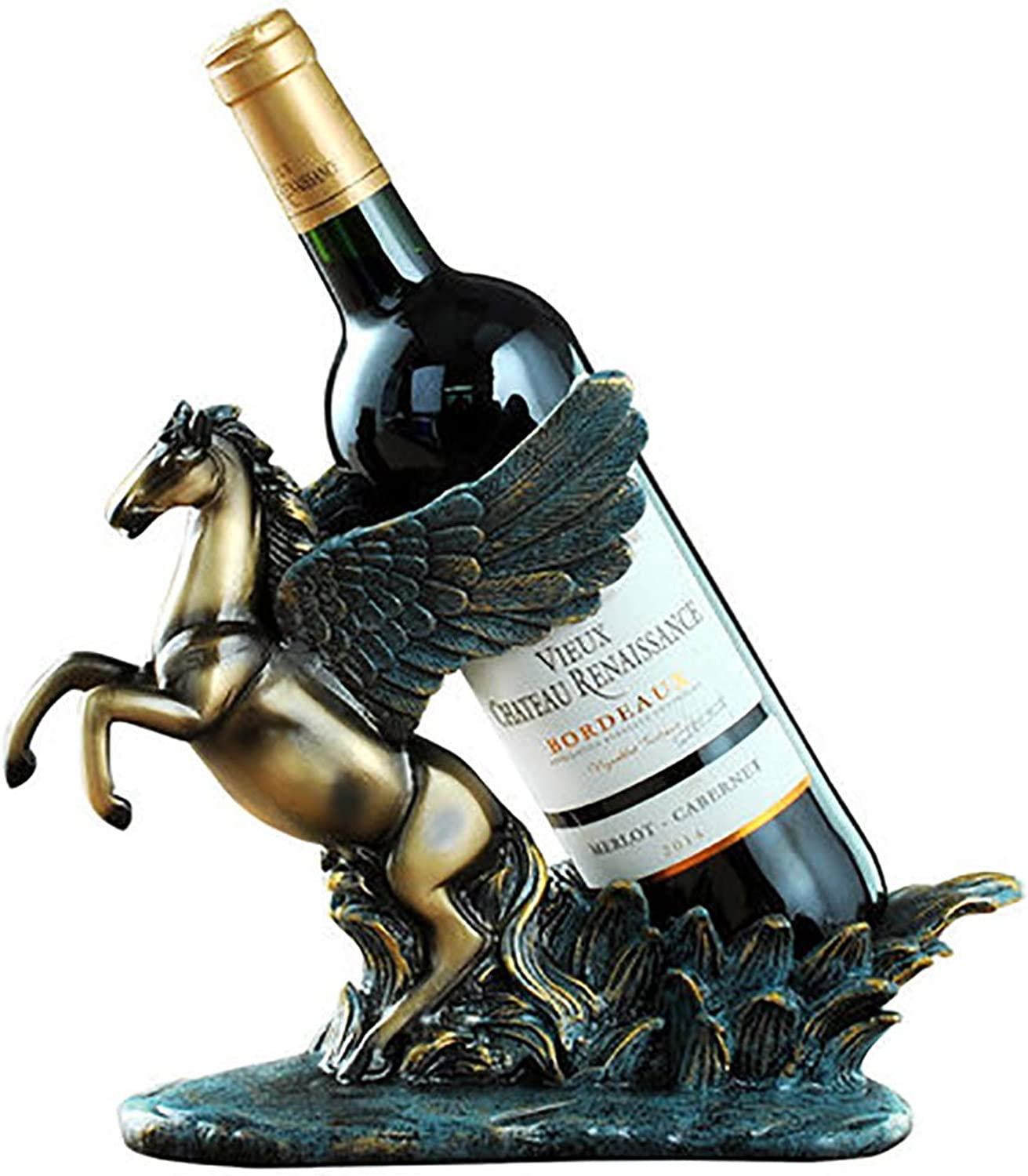 Red Wine Shelf Home Decoration Restaurant Equipment Statue Wine Cabinet Personality Decoration Gift Gift Creative Wine Frame Sculpture,Brown (color   White)