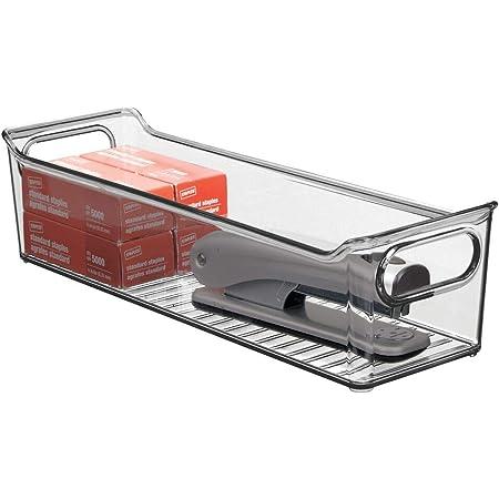 mDesign boîte de rangement en plastique avec poignées intégrées – boite plastique pour le rangement des ustensiles de cuisine, de la salle de bain ou du bureau – gris fumé