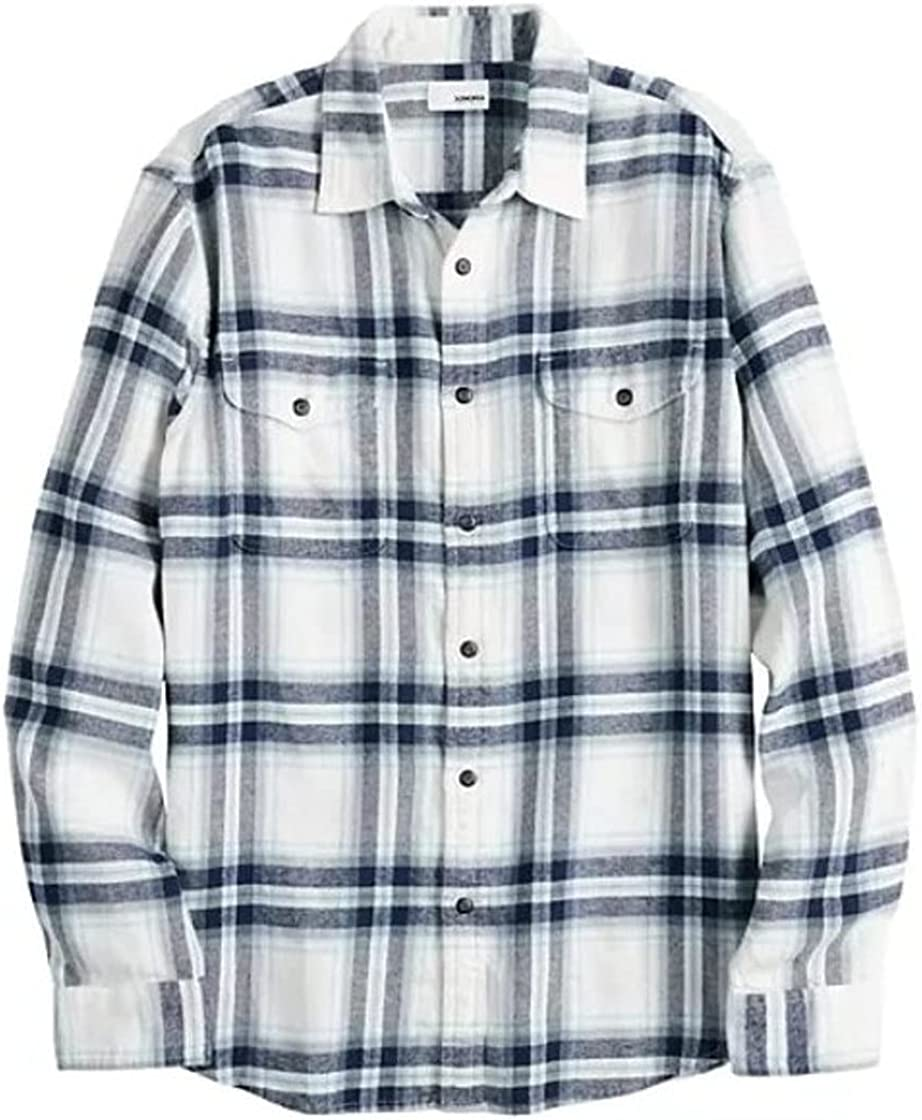 Sonoma Mens Classic Fit Flannel Long Sleeves Shirt White Plaid - 2 Chest Pockets