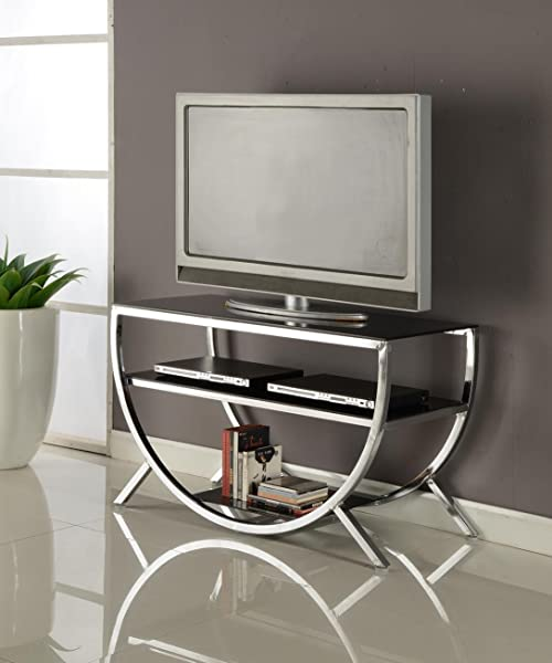Kings Brand Furniture E010 Dedham Chrome Metal With Glass Shelves TV Stand