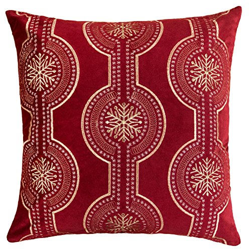 Homey COZY Embroidery Red Velvet Throw Pillow Cover, Merry Christmas Series Snowflake Drop Luxury Soft Fuzzy Cozy Warm Slik Gift Square Couch Cushion Pillow Case 20 x 20 Inch, Cover Only -  Kingray, 71048-RD