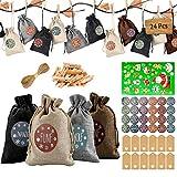 Adventskalender zum Befüllen Weihnachtskalender selber basteln für Kinder Mädchen Jungen - mit 1-24 Adventszahlen Aufkleber, Natur Säckchen,Stoffbeutel, Geschenksäckchen für DIY Handwerk