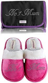 """Varsany Kosmetiktasche mit Aufschrift """"No.1 Mum"""", rosa Hausschuhe, weiße oder schwarze Make-up-Tasche mit Strasssteinen, p..."""