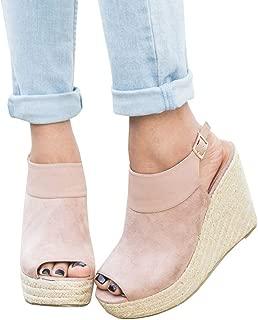 Seraih Women's Peep Toe Slingback Wedges Espadrille Platform Suede Sandals