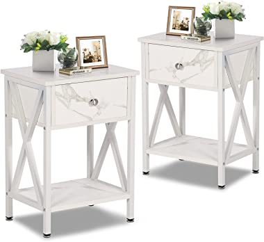 VECELO Night Stands for Bedroom Rustic Nightstand Bedside End Tables with Drawer Storage, Pearl White,Set of 2