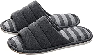 Vabadus Memory Foam House Slippers Open Toe Washable Cotton Striped Indoor Outdoor Home Flat Slippers for Men and Women