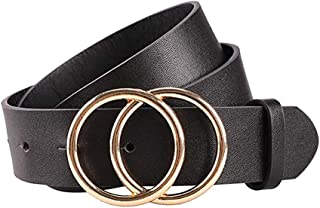 Women Leather Belt for Dress & Jeans Fashion Soft Leather with Double O-Ring Buckle