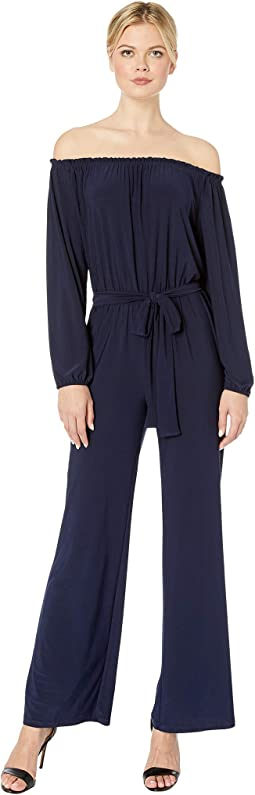 Ity Matte Jersey Long Sleeve Jumpsuit with Sash