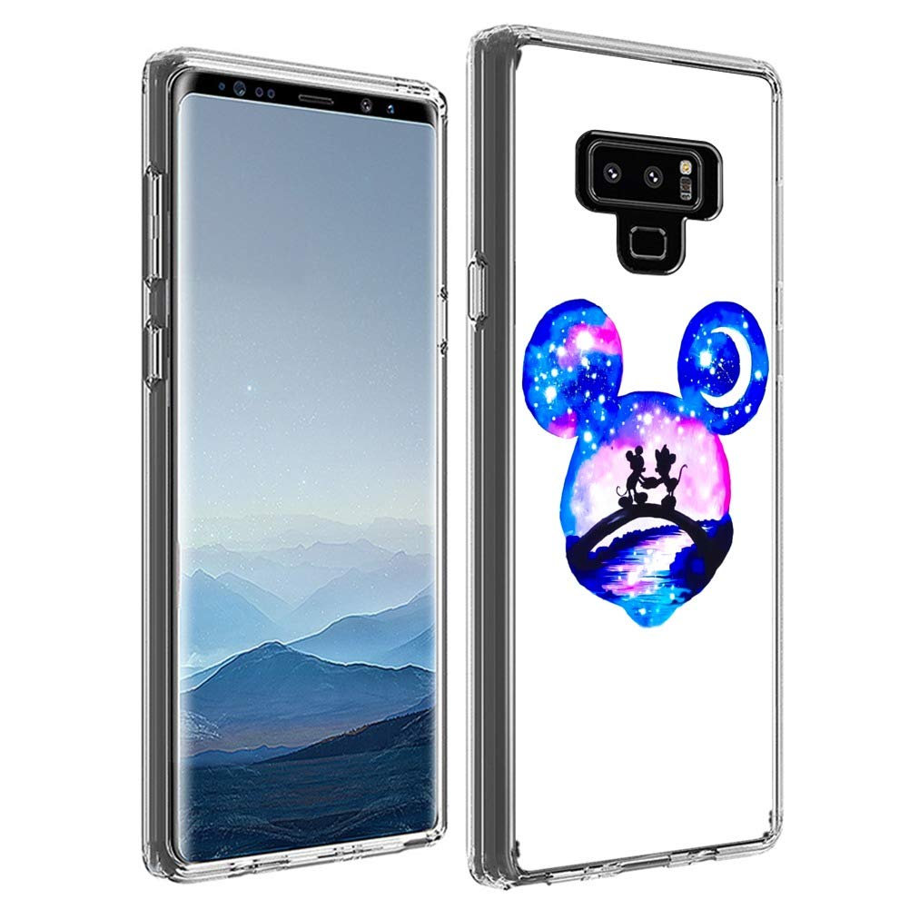 DISNEY COLLECTION Clear Crystal Phone Case Compatible with Samsung Galaxy Note 9 Flexible Finger Resistant Shock Light Slim Absorption Skid Proof Disney Mickey Mouse Cartoon Protective Cover