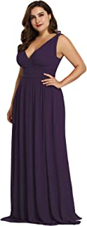 Alisapan Womens V-Neck Chiffon Bridesmaid Dress Plus Size Long Evening Party Dresses 90161
