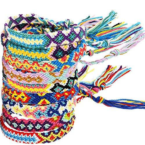 Zhanmai 10 Stück Gewebte Armbänder Handgemachte Freundschaft Armbänder Multi Farbe Geflochtene Armband für Handgelenk Knöchel