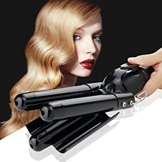 Curling Iron 3 Barrel Jumbo Ceramic Curling Iron Wand Hair Curler Crimper with LCD 176℉-446℉ Temperature Display -Fast Safe Beach Wave Iron(25mm,Black)