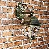 Lámpara de Pared Clásica Exterior Alu oro Cristal Antiguo Estilo Tiffany E27 Iluminación Exterior Jardín Casa Balcón