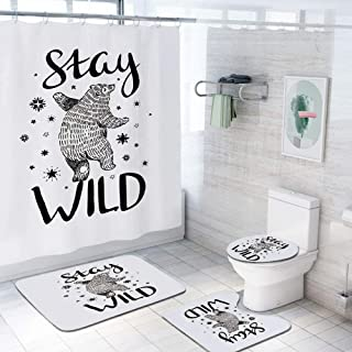 Bear 69x70 inch Shower Curtain Sets,Dancing Bear in Hand Drawn Style with Cute Little Stars Stay Wild Inspirational Quote Decorative Toilet Pad Cover Bath Mat Shower Curtain Set 4 pcs Set,Black White