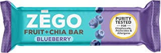 ZEGO Fruit + Chia Bars, Blueberry, Non GMO, Vegan, Gluten Free, Low Glycemic, 25g (Pack of 12)