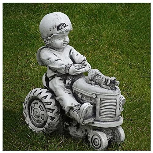 Gartendeko Junge und Hund auf Traktor mit kleinem Anhänger, Betonskulptur Gartendekoration, Rasendekoration, Wunderliche Blumenbeet Yard Outdoor Skulptur Dekor, Personalisiertes Geschenk (#1)