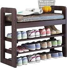Household Adjustable 2 Tier Wooden Shoe Rack Bench Hallway Storage Cabinet Cupboard Storing Unit Versatile with Seat Cushi...
