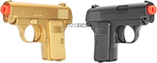 BBTac Gold and Black Dual 618 Airsoft Sub-Compact Pocket Pistols 110 FPS Spring Concealable Gun with Storage Case