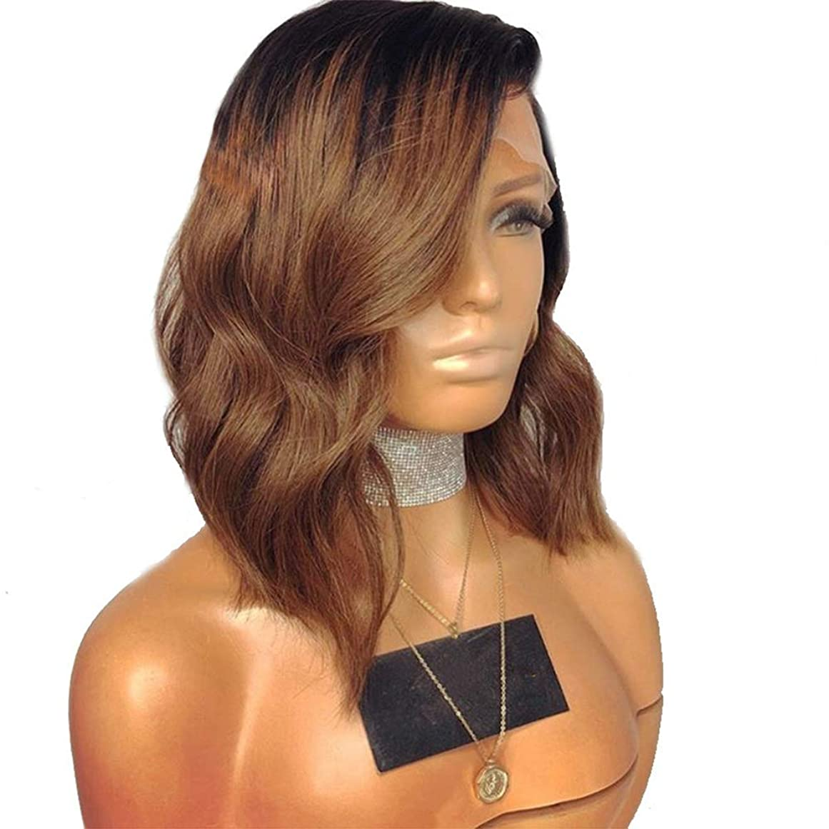 博覧会エキサイティングシミュレートするフロントレースファッションナチュラルブラウンショートカール合成レースフロントウィッグ180%密度耐熱髪の女性のかつら18インチ