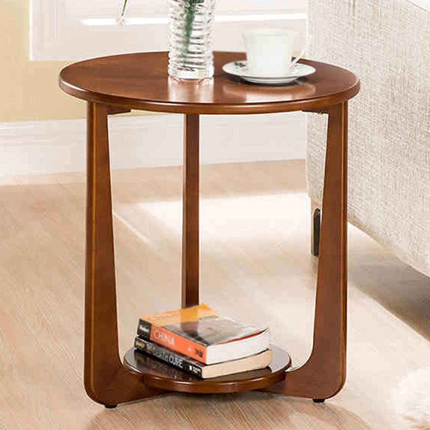 Xiaolin Solid Wood Sofa Side Table Round Coffee Table Corner Table Telephone Table Two colors 50  53.5cm