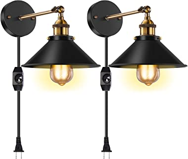 Licperron Dimmable Wall Sconce Plug in, Vintage Antique Style 240 Degree Adjustable Industrial Wall Light with UL Dimmable Sw