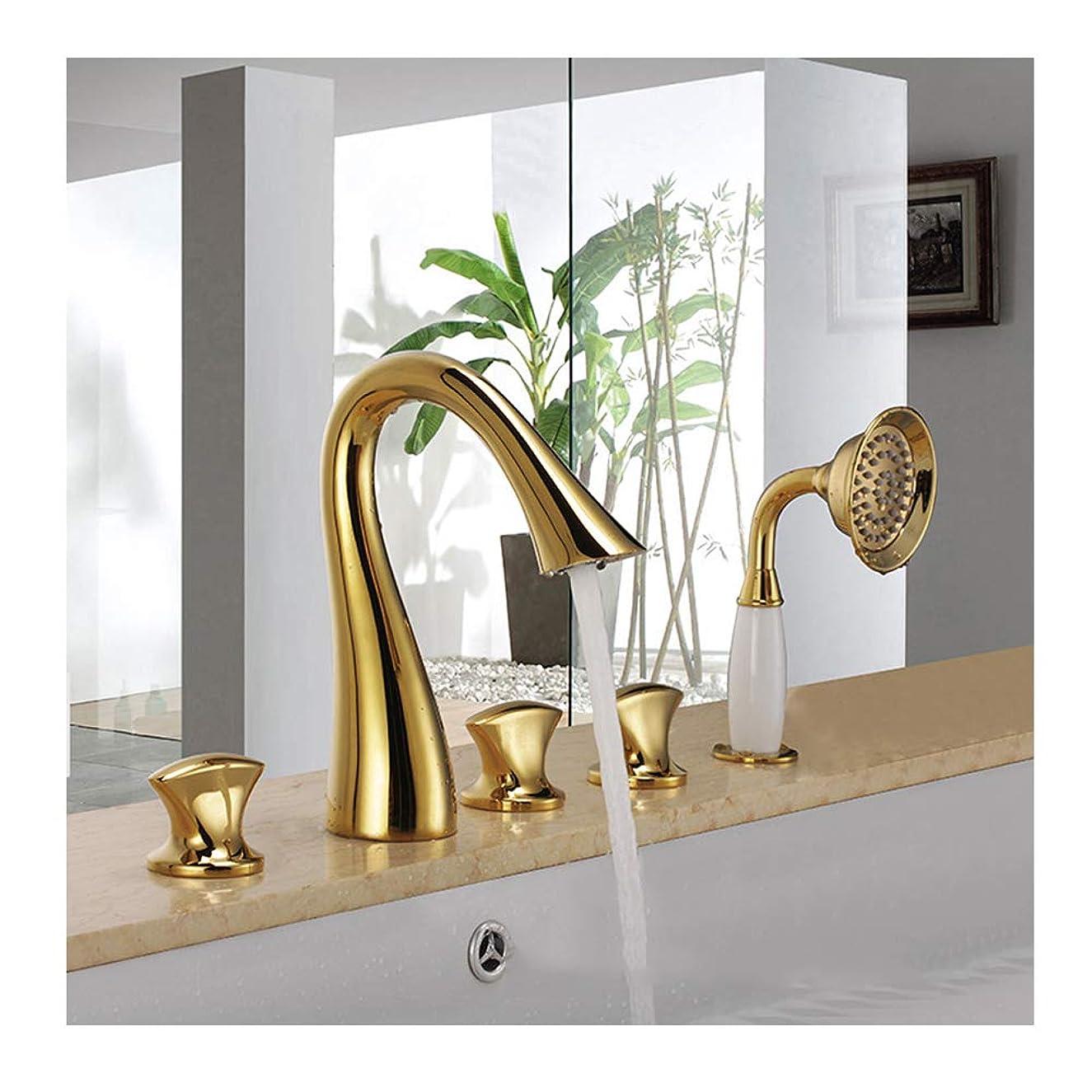 キャップ句ブレスチタンゴールドバスタブ蛇口温水と冷水広範囲5穴3ハンドルグースネックバスルーム浴槽の蛇口デッキマウントバスシャワーミキサータップハンドヘルドシャワー付き
