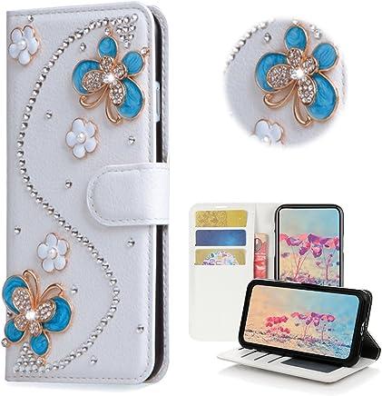 STENES LG K20 Plus Case, LG K20 V Case - STYLISH - 3D Handmade Bling Crystal S-Link Flowers Butterfly Wallet Credit Card Slots Fold Media Stand Leather Cover Case - Blue