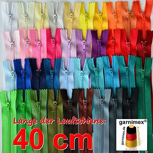 Reißverschlüsse 40 cm Sortiert 39 Stück - Nicht teilbar - in 39 Farben