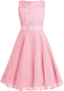 Kids Girls Sequins Lace Floral Wedding Pageant Party Formal Ball Gown Flower Dress