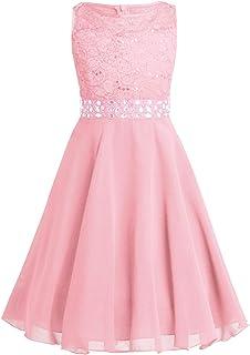 MSemis Kids Girls Halter Neck Floral Lace Rhinestones Wedding Bridesmaid Flower Dress Formal Romper Dancewear