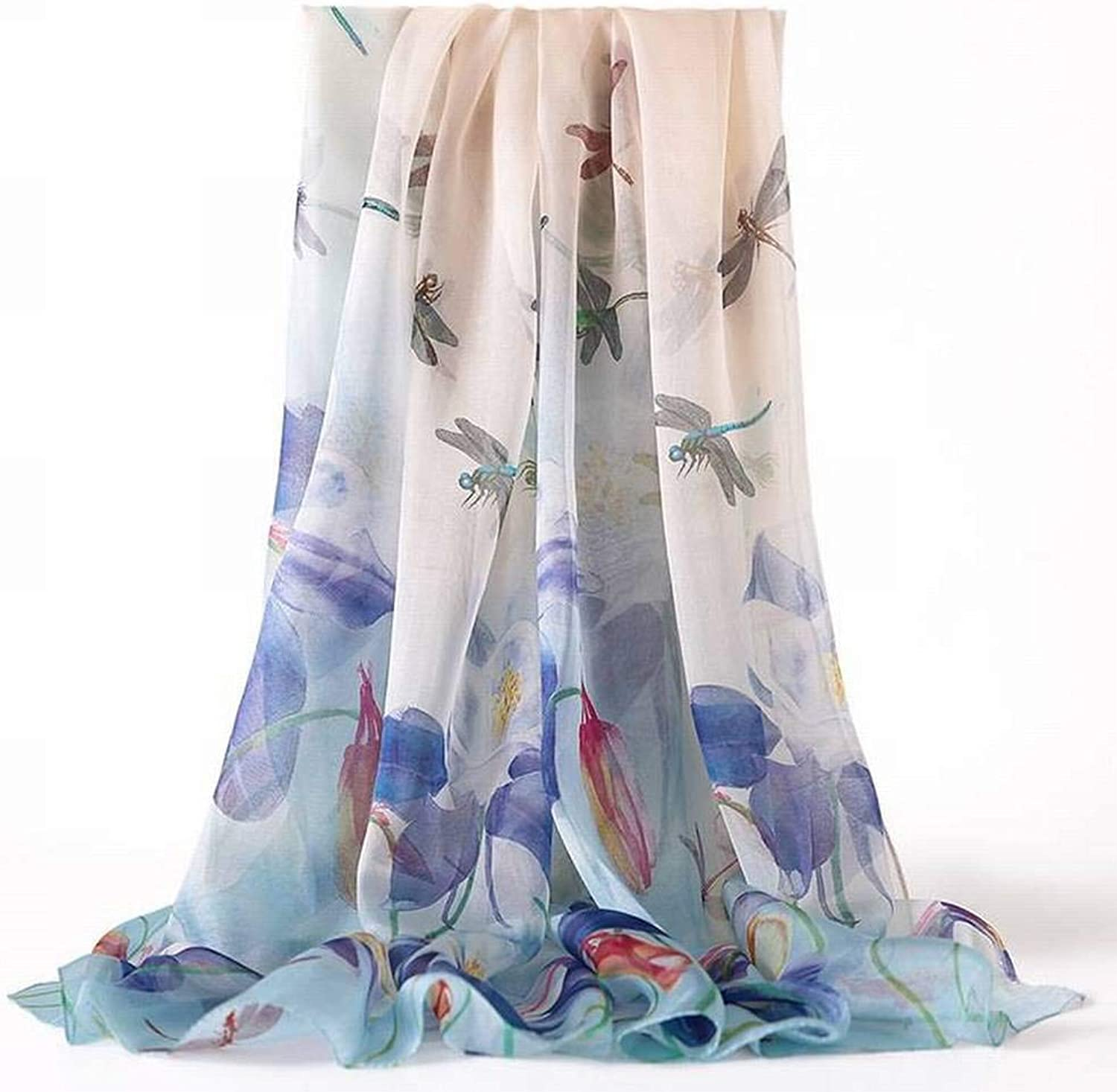 European and American Street Printing Silk Female Decorative Flower Long Scarf Autumn and Winter Outdoor MultiFunctional Fashion Trend Wild Warm Shawl Scarf Gift, QiXian, 9 Dream