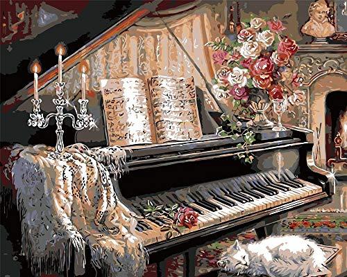 WLHZNBH schilderen op nummer, piano en mooie meisjes afbeelding kleur op nummer, beginners doe-het-zelf olieverfschilderij met kits acryl 40 * 50 cm (B) Met frame.