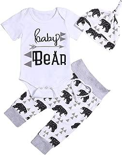 Newborn Baby Boys Girls Clothes Baby Bear Long Sleeve Bear Print Pants Outfit Sets + Hat
