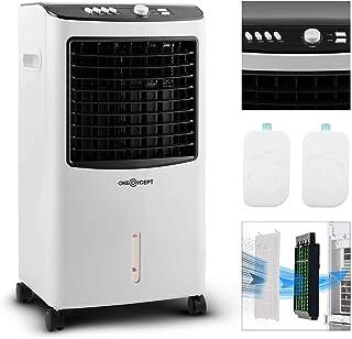 oneConcept MCH-2 V2 - Ventilador 3-en-1 portátil, Enfriador de aire, Humidificador, Tanque 7 L, 360 m³/h, 65 W, 2 baterías de refrigeración intercambiables, Oscilación horizontal, Temporizador, Floral