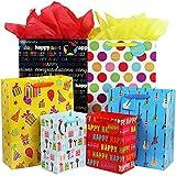 Fzopo Birthday Gift Bag Assortment with Ribbon Handle, 12 Pcs Premium Quality Assorted Sizes Paper Bags Set, XL 13x17x6.5, Large 12x15x4.8, Medium 7x9x4.2 inches, 6 Designs